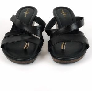 d40b4ea056a Cole Haan Shoes - Cole Haan Nike Air Black Wedge Leather Sandals 7.5
